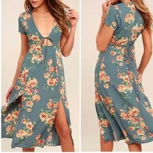 LuLu's Dress Teal Floral Front Keyhole NEW